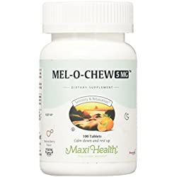 Maxi Health 5 Mel-O-Chew Chewable Melatonin Sleep Aid, Berry Flavor, 100 Count