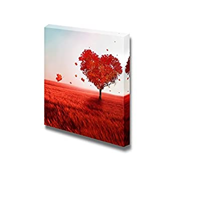 Canvas Prints Wall Art - Red Tree of Love Romantic Scene Retro Style | Modern Wall Decor/Home Decoration Stretched Gallery Canvas Wrap Giclee Print & Ready to Hang - 16