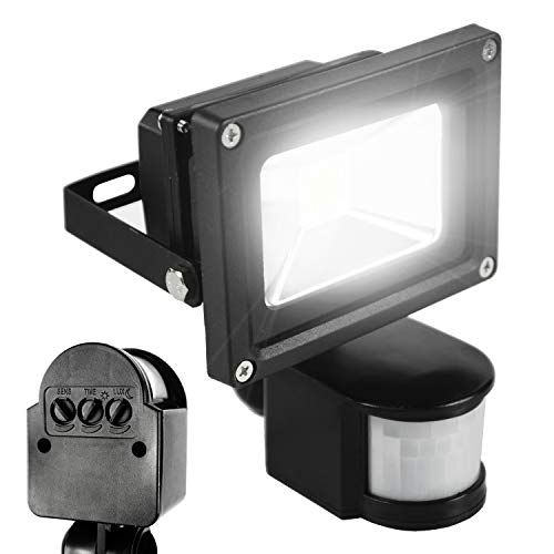 ETOPLIGHTING 10 Watt LED Motion Sensor PIR Flood Light for Indoor Outdoor Use, APL1177, Daylight White