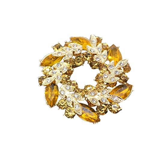 seven wolves Bauhinia Brooch Pin Scarves Buckle Collar Pin Corsage Bouquet Multi-Color Rhinestone Crystal Flower Brooches Pins, Yellow