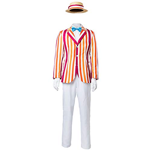 CHECKIN Halloween Bert Classic Movie Cosplay Costume Vertical Stripe Suit Full Set with Hat -