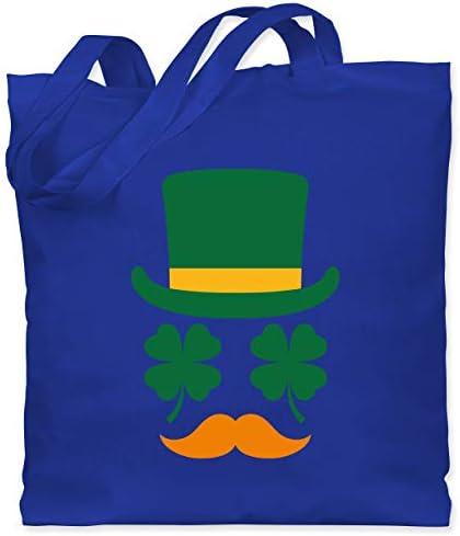Shirtracer - St. Patricks Day - Irisches Gesicht mit Kleeblättern - Stoffbeutel aus Baumwolle Jutebeutel lange Henkel