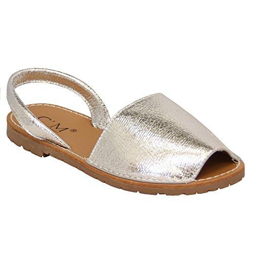 Damen Sandalen menorquinischen Damen Slipper auf flach Peeptoe Sling Zehentrenner Strand Silber - 118072