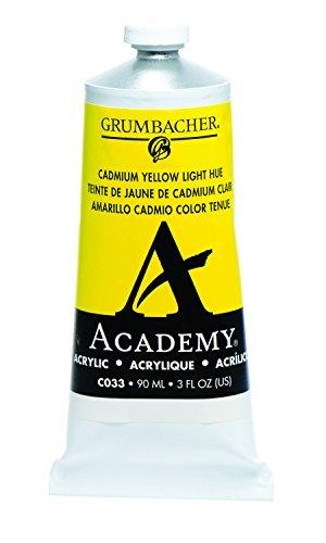 Grumbacher Academy Acrylic Paint, 90ml/3 oz Metal Tube, Cadmium Yellow Light Hue