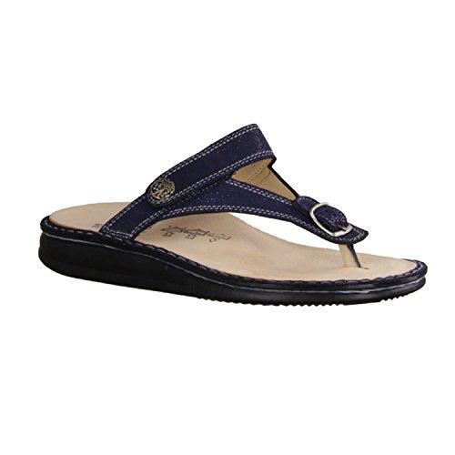 Finn Comfort Alexandria- Scarpe Da Donna Pantolette / Perizoma, Blu, Pelle (glitter) Blu