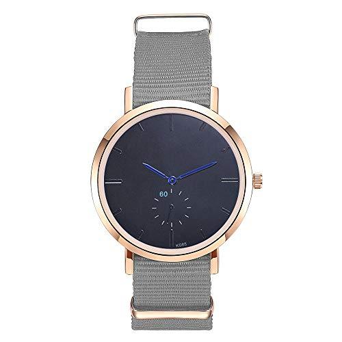 Women's Watch, Thing-ning Women Fashion Nylon Cloth Band Analog Quartz Round Wrist Watch Watches Movement Fashion Design Round Dial Gift (Gray)