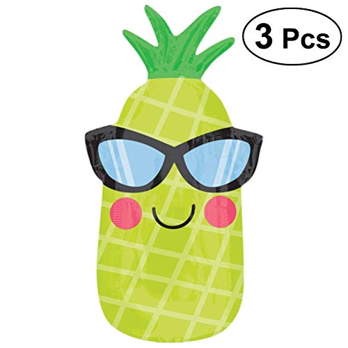 Easyflower Suitable for Party Favors Pineapple Balloons Fruit Balloons Jumbo Foil Balloons Decoration Birthday Summer Hawaiian Luau Party Supplies Photo Props 3PCS ()