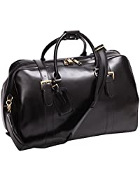 Mens Genuine Leather Overnight Travel Luggage Carry On Airplane Duffle Overnight Weekender Bag