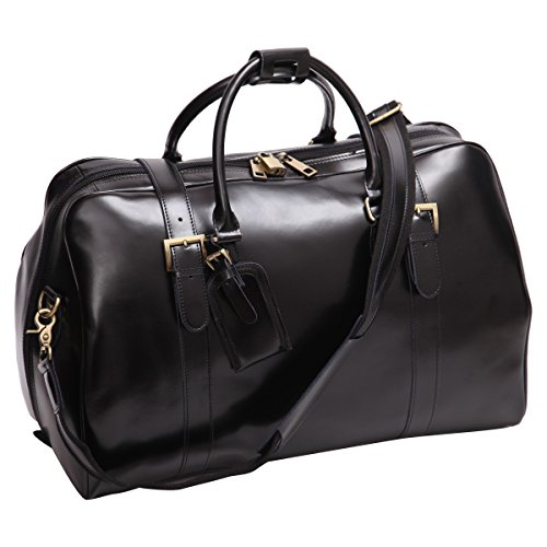Leathario Mens Genuine Leather Overnight Travel Duffle Weekend Bag (Black-141)
