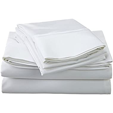 1200 Thread Count Premium Egyptian Cotton, Single Ply, Full Bed Sheet Set, Solid, White