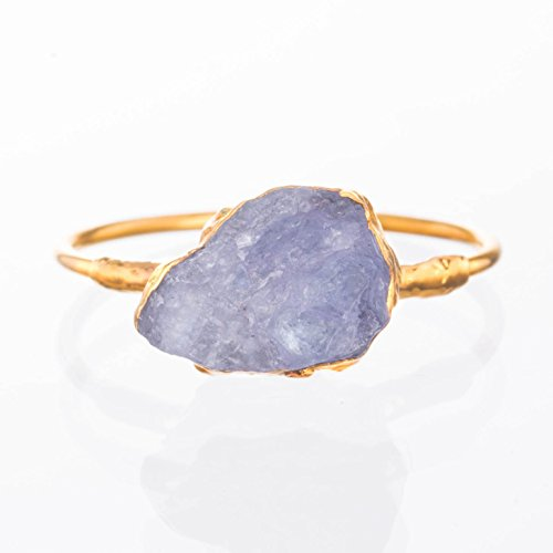 Sea Glass Bezel - Tanzanite Stacking Ring, Size 6, Yellow Gold, Boho Crystal Jewelry