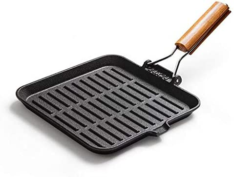 KIHUGL Fonte Fried Steak Pot Stripe Uncoated antiadhésive Ménage Barbecue Pan Cuisinière à Induction Universelle des gaz 24cm Steak Pot