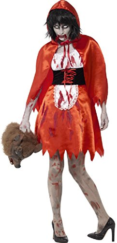 Ladies Dead Zombie Little Miss Red Hood Bloody Scary Halloween Fancy Dress Costume Outfit UK 4-22 (UK 20-22)