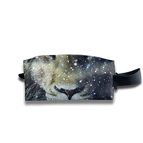 Clash Durable Zipper Wallet Makeup Handbag With Wrist Band Snow Tiger Toiletry Bag -