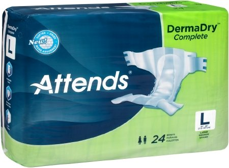 Attends Advanced Briefs With Advanced Dry Lock Technology For Adult Incontinence Care  Large  Unisex    72 Count