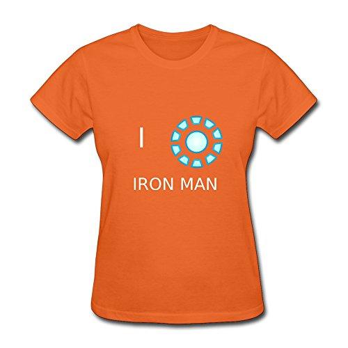 Women's Tshirts-Particular Iron Man Reactor Arc Tshirt Size XS Orange