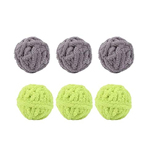 Jocestyle 6pcs Cat Ball Toys Plush Rope Playing Training Non-Toxic Knitt Cat Toy Ball Supplies (Color Randomly)