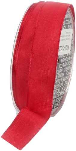 Ampelco Ribbon Company French Wired 27-Yard Taffeta Ribbon, 1-Inch, Red