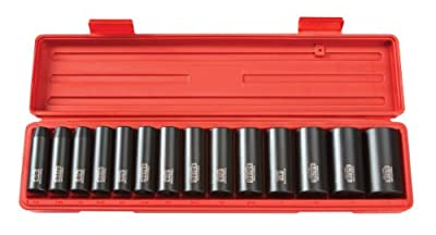 TEKTON 4880 1/2-Inch Drive Deep Impact Socket Set, Inch, Cr-V, 6-Point, 3/8-Inch - 1-1/4-Inch, 14-Sockets