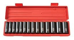 TEKTON 1/2-Inch Drive Deep Impact Socket Set, Inch, Cr-V, 6-Point, 3/8-Inch - 1-1/4-Inch, 14-Sockets | 4880