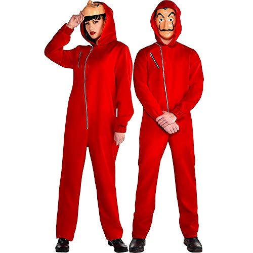 Money Halloween Costumes (Party City Money Heist Jumpsuit Halloween Costume for Adults, Small/Medium, Includes)