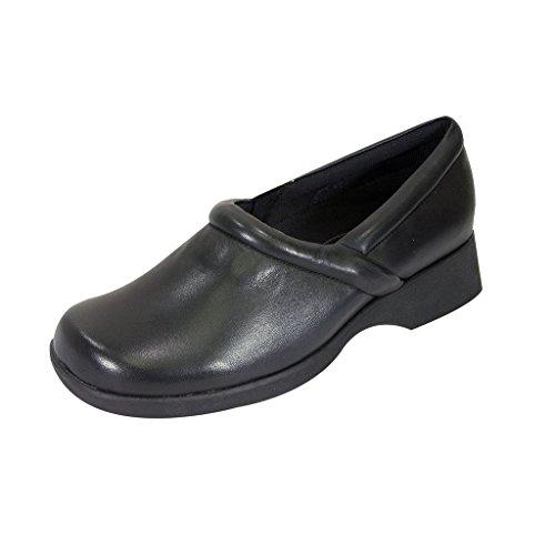 24 Hour Comfort  Carol (1029) Women Wide Width Comfort Slip-On Shoes Black 8 by 24 Hour Comfort