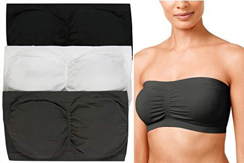 ToBeInStyle Women's 3Pk Tube Bra - Black/White/Mid Grey - 1X/2X ()