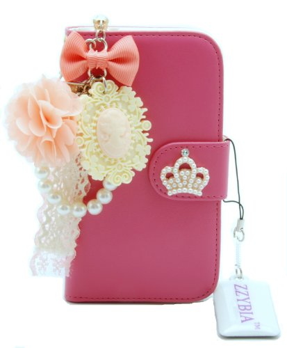 ZZYBIA® S4 HCV Pink Leatherette Stand Case Card Holder Wallet with Romantic Victorian Dust Plug Charm for Samsung Galaxy S4 IV I9500 I9505