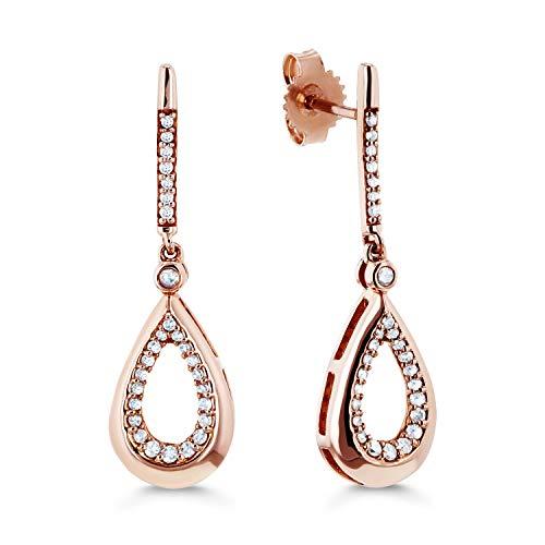 Diamond Pear Silhouette Drop Earrings 1/5ct TDW in 10k Rose Gold