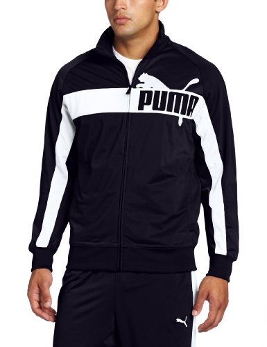 PUMA Men's Full Zip Tricot Jacket, New Navy/White, X-Large
