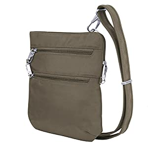 Travelon Anti-theft Classic Slim Dbl Zip Crossbody Bag, Nutmeg