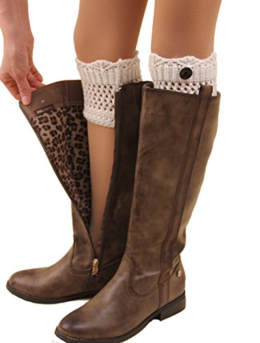 [Crochet Boot Cuffs with Buttons Checkered leg warmers perfect gift for girl /woman (Crochet-White)] (Furry Boots Cheap)