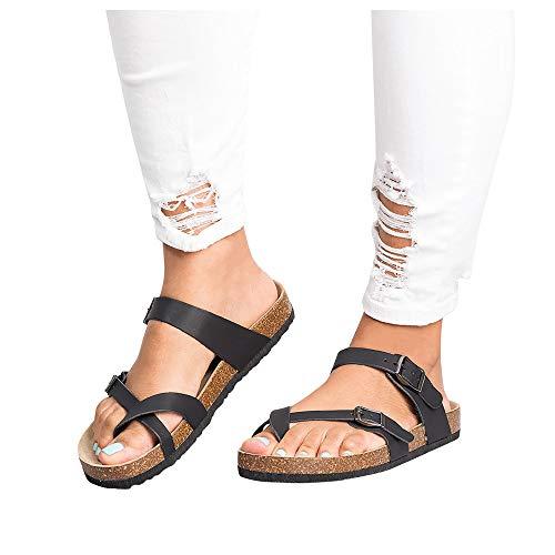 09211377c Liyuandian Womens Cross Toe Double Buckle Strap Summer Leather Flat Mayari  Sandals