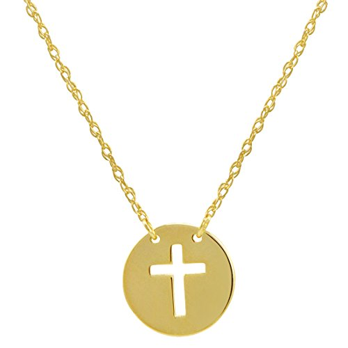 Amanda Rose 14k Yellow Gold Cross Disc Necklace on an Adjustable 16-18 in. Chain
