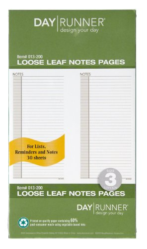 Day Runner Undated Planner Notes Refill, 3.75 x 6.75 Inches -
