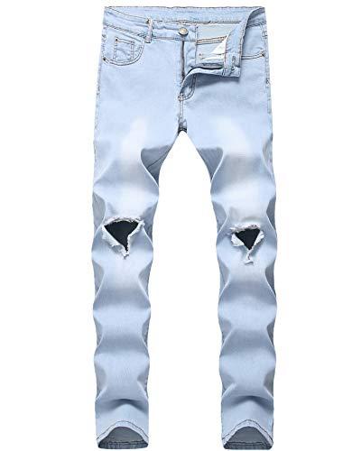 (FREDD MARSHALL Men's Light Blue Slim Fit Ripped Knee Holes Destroyed Fashion Stretch Denim Jeans)