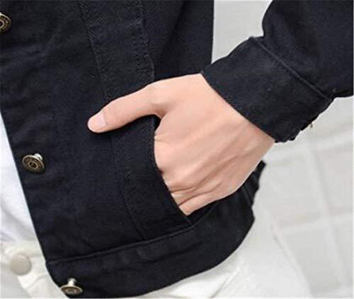 Bavero Ericcay Autunno Casuale Cappotto Giacca Tasche Lunga Single Breasted Donna Giacche Giaccone Anteriori Manica Jeans Nero Corto qHwqSY