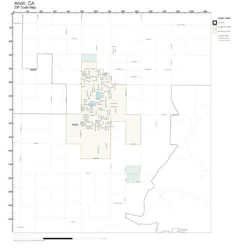 ZIP Code Wall Map of Arvin, CA ZIP Code Map - Arvin Map