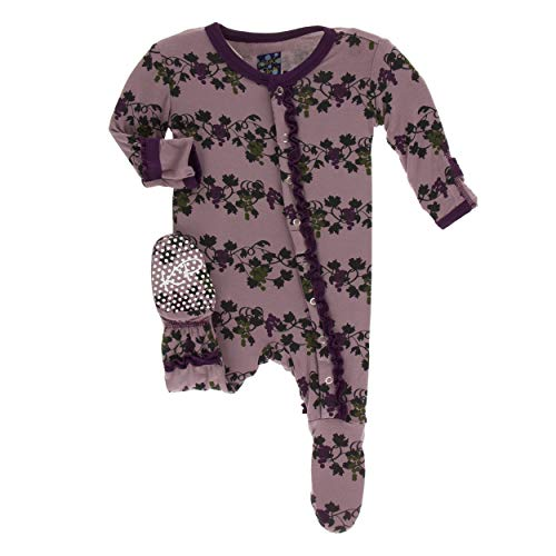 (Kickee Pants Little Girls Print Muffin Ruffle Footie with Snaps - Raisin Grape Vines, 12-18 Months)