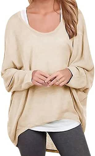 Oryer Womens Casual Baggy Off-Shoulder Shirts Tunic Pullover Tops Blouse T-Shirt