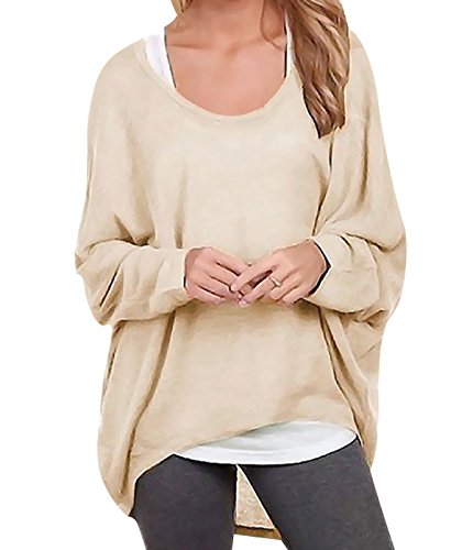 Oryer Womens Casual Oversized Baggy Off Shoulder Shirts Batwing Sleeve Loose Pullover Tops