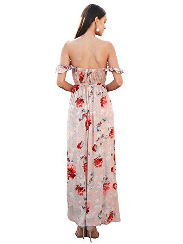 Ropa Espalda Sin Libre Dividida Maxi Hombro Verano Fluidas Las Del Floral Vestido Largo Estampado Simplee Mujeres De rRfzrq