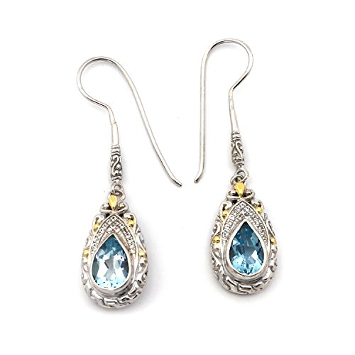 Dragonfly Earrings Sapphire (18k Yellow Gold and Sterling Silver White Sapphire and Blue Topaz Filigree Dragonfly Earrings)