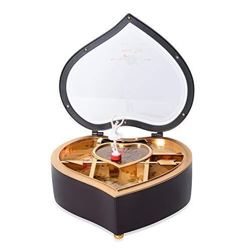 Shop LC Delivering Joy Brown Heart Shaped Rotating Dancer Ballerina Figurine Musical Jewelry Box 7.48x7.08x2.95 - Heart Style Music Box