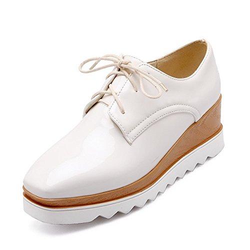 VogueZone009 Damen PU Leder Rein Schnüren Quadratisch Zehe Mittler Absatz Pumps Schuhe Weiß