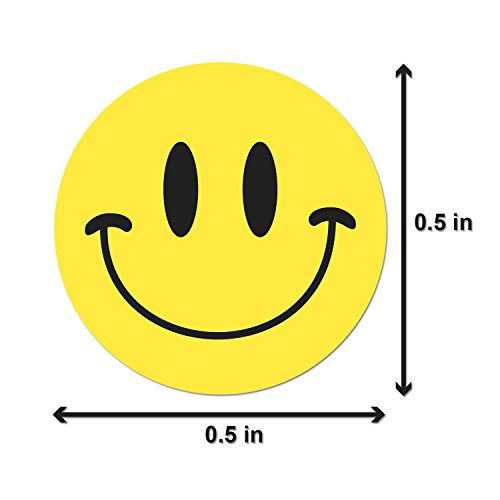 Happy Face Smiley Face Labels Round Self Adhesive Circle Stickers (Yellow Black / .5
