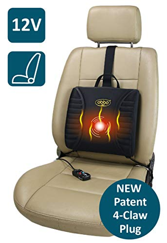 Lumbar Massage Cushion - ObboMed SU-3400F Patented 4-Claw Ultra-Tight Fit Plug 12V Heated Massage Travel Pro-Lumbar Seat Cushion, Support Back/Waist for Long Drive Sitting Easy Positioning Counterweight for Car Auto Vehicle