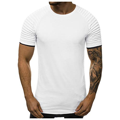 WUAI-Men T-Shirt Plus Size,Casual Summer Short Sleeve Slim Fit Pleated Shirts Tops(White,X-Large)