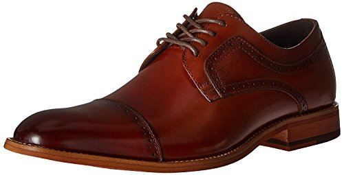 STACY ADAMS Men's Dickinson Cap Toe Oxford, Cognac, 10.5 M US (Best Dress Shoes Under 100)
