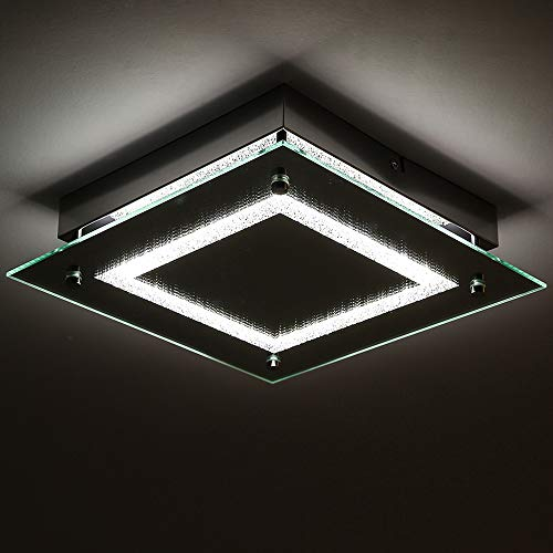 - LED Ceiling Light Fixture,Auffel Minimalist Elegant Design Flush Mount Lamp Dimmable LED Light Source Chandelier Glass+K9 Crystal+Metal 11-Inch 4000K Natural White+1320LM for Hallway,Kitchen,Washroom